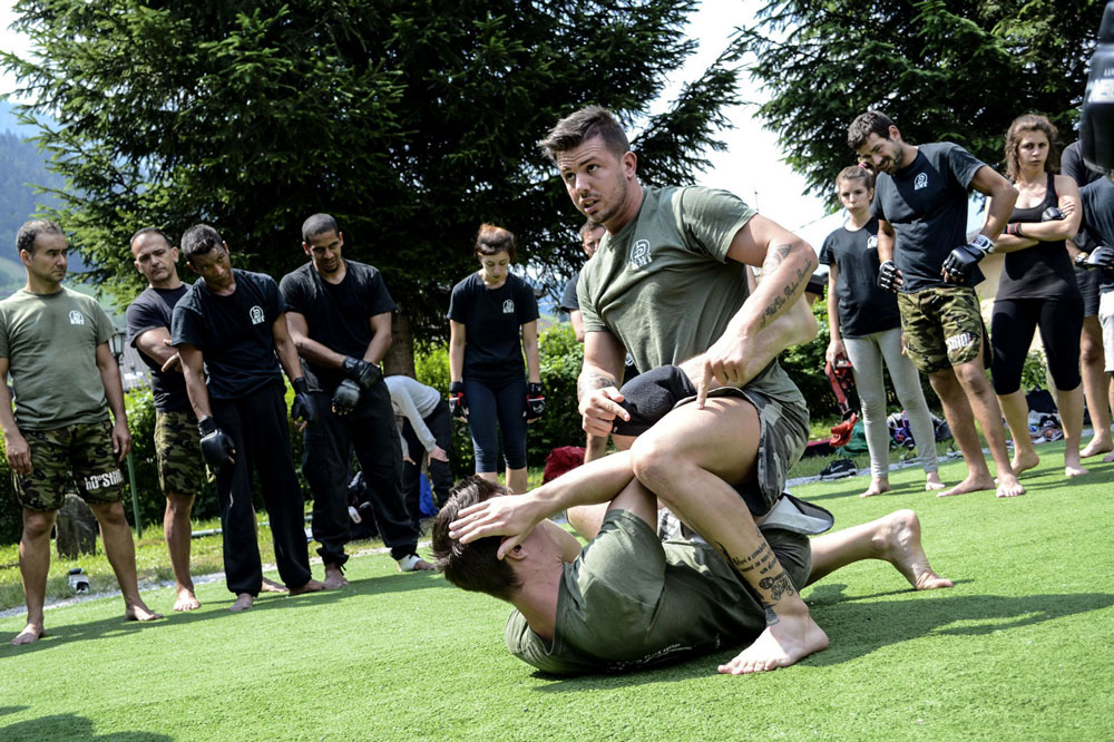 Self defense techniques on the ground during the summer training