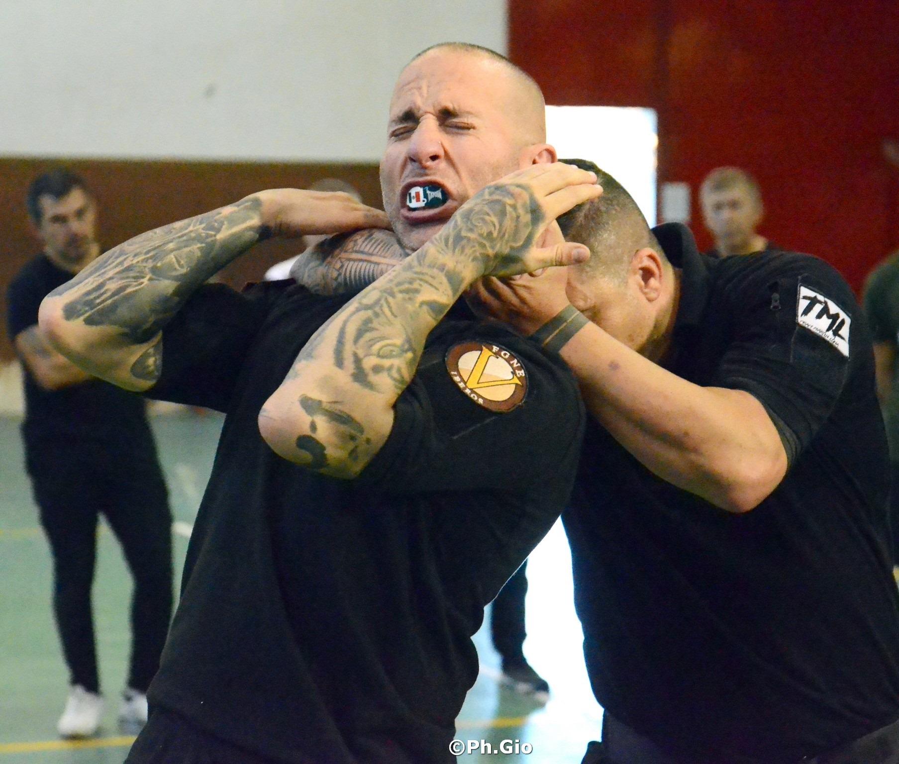 Daniel Garrido Antelo is choked by Martin Luna