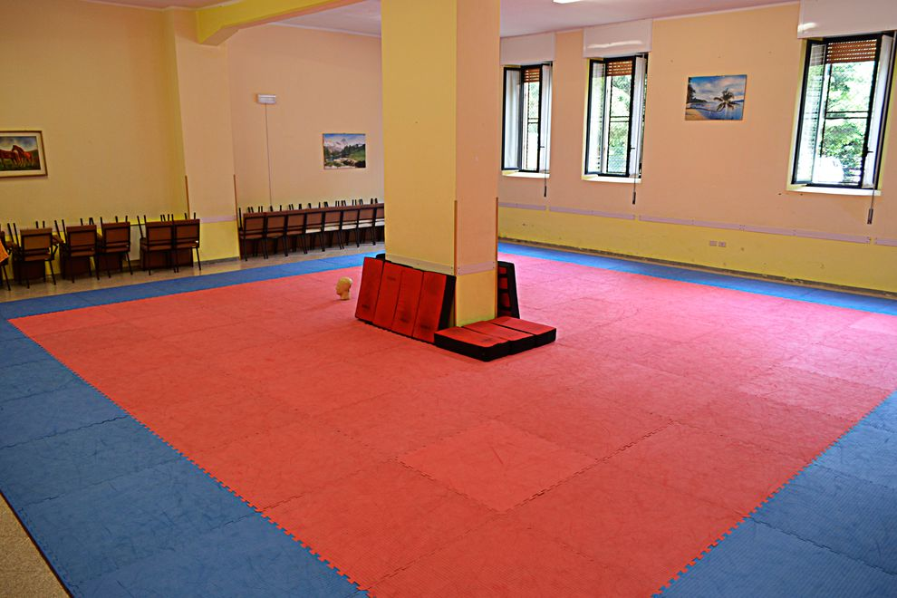 Our indoor dojo with tatami and shield pads during the summer boot camp