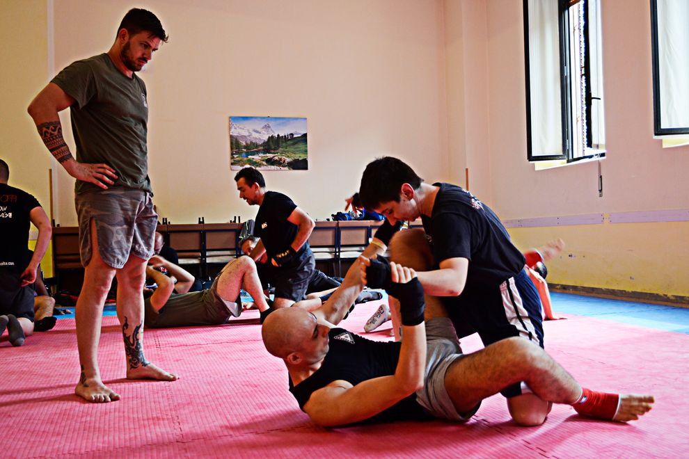ground combat from guard position in our indoor dojo with tatami