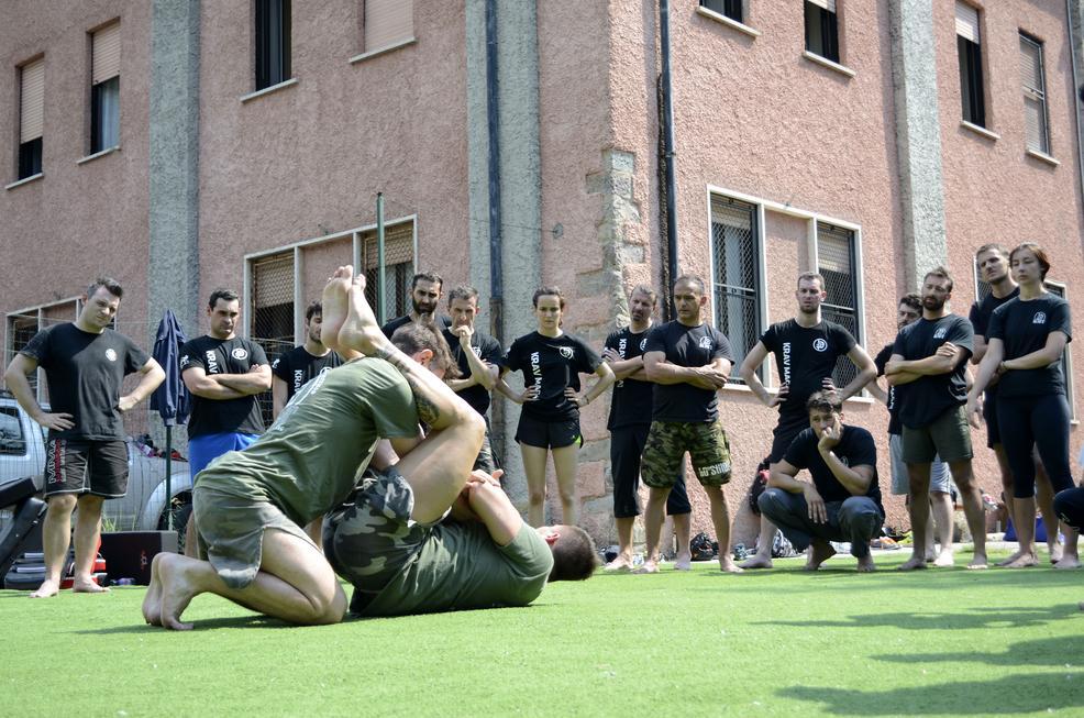 Krav Maga self defense on the ground double armbar technique