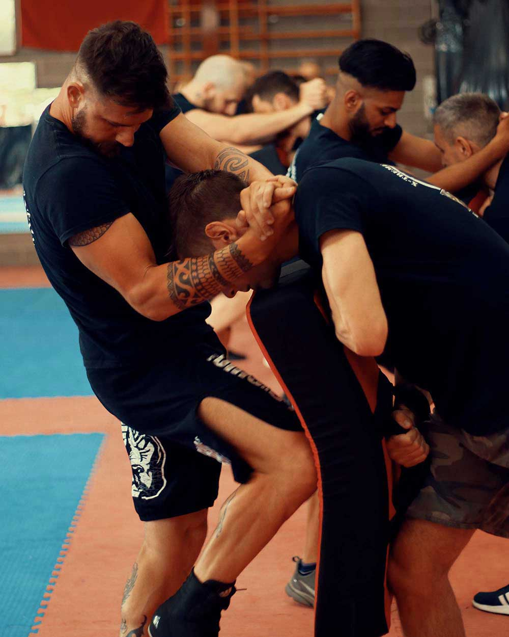 fighters training with clinch techniques workout