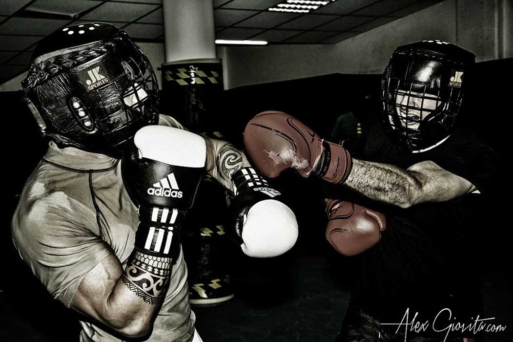sparring session during boxing class